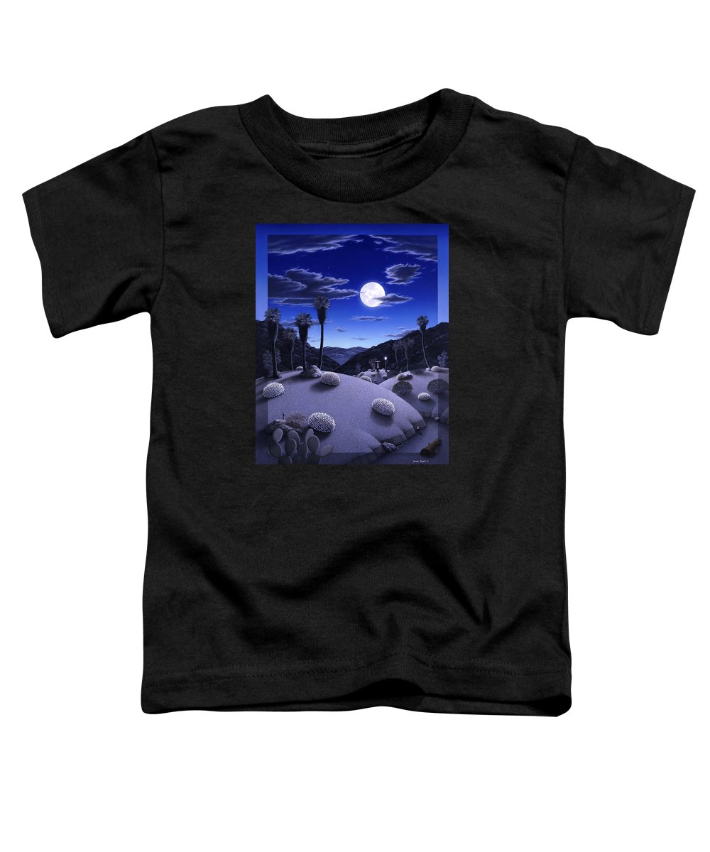 Desert Toddler T-Shirt featuring the painting Full Moon Rising by Snake Jagger