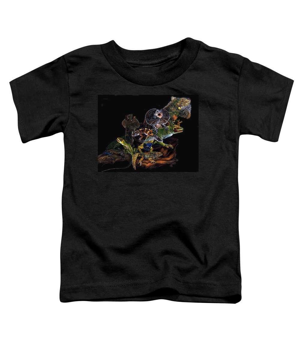 Lizards Toddler T-Shirt featuring the drawing Gems And Jewels by Barbara Keith