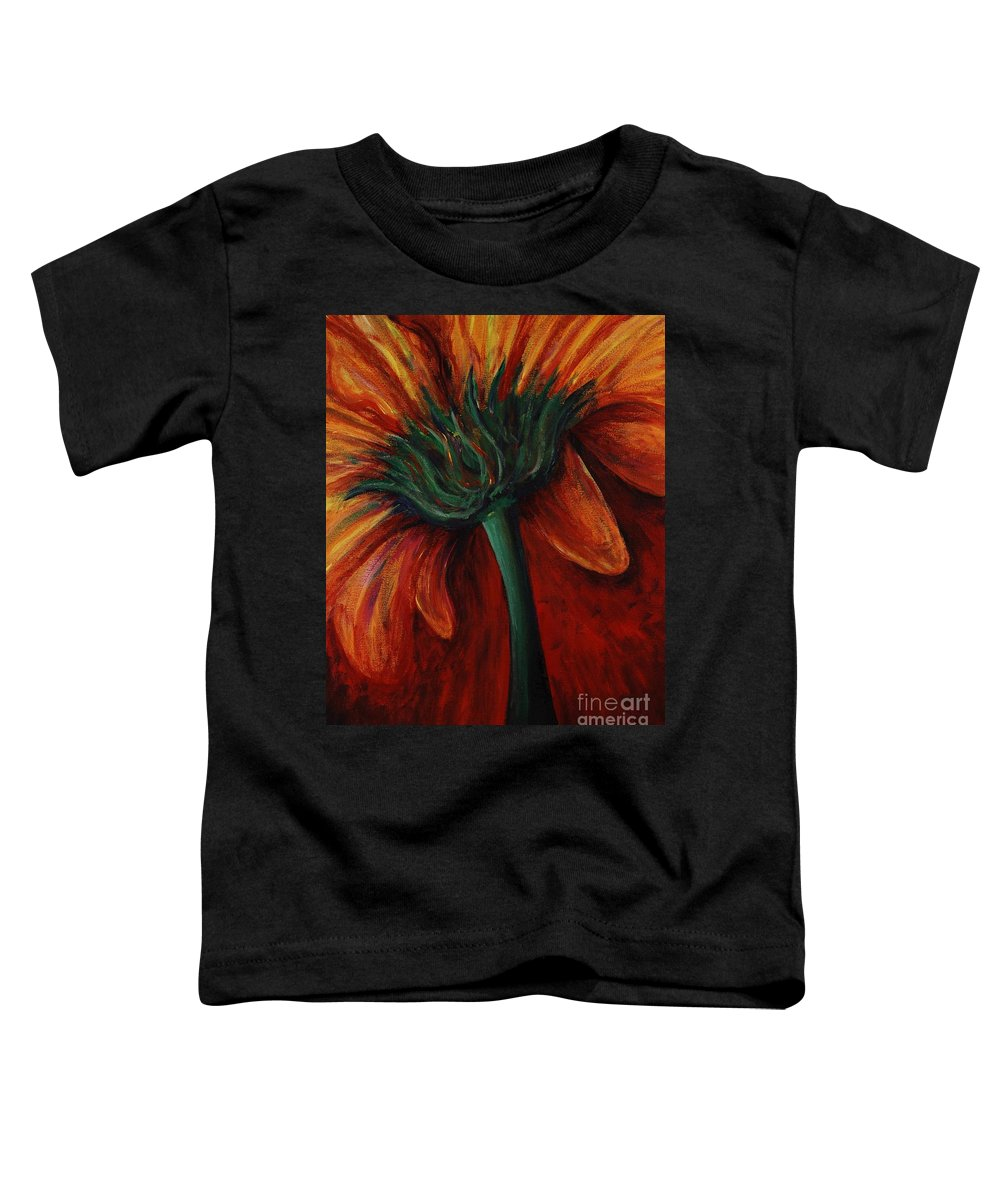 Gerbera Daisy.daisy Toddler T-Shirt featuring the painting Gerbera Daisy by Nadine Rippelmeyer