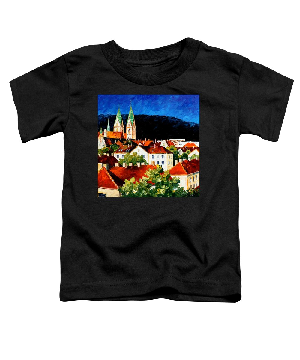 City Toddler T-Shirt featuring the painting Germany - Freiburg by Leonid Afremov