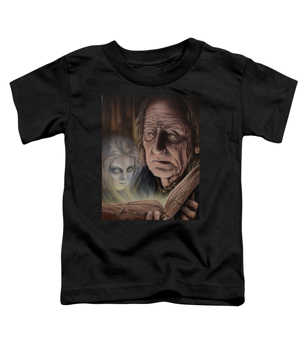 Airbrush Toddler T-Shirt featuring the painting Ghost In The Book by Robert Haasdijk