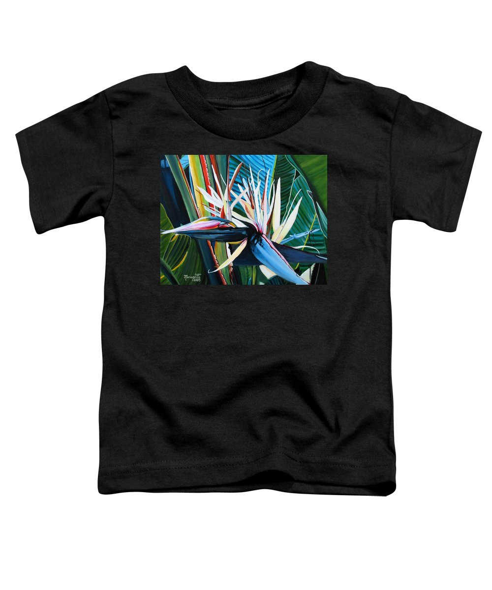 Bird Toddler T-Shirt featuring the painting Giant Bird Of Paradise by Marionette Taboniar