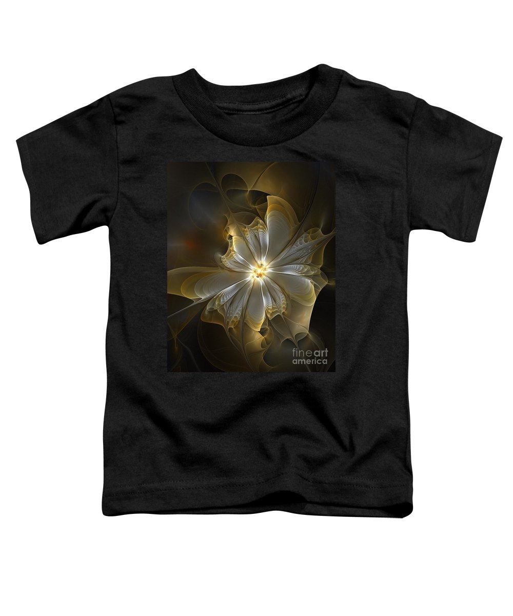 Digital Art Toddler T-Shirt featuring the digital art Glowing In Silver And Gold by Amanda Moore