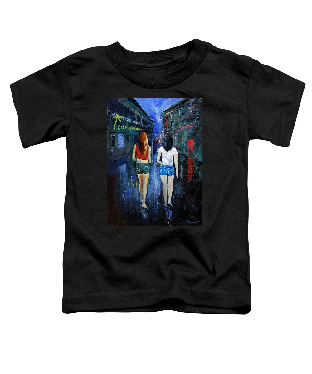 Girl Toddler T-Shirt featuring the painting Going Out Tonight by Pol Ledent