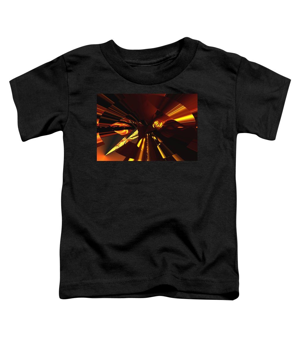 Abstract Toddler T-Shirt featuring the digital art Golden Brown Abstract by David Lane
