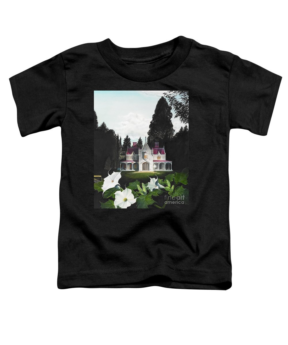Fantasy Toddler T-Shirt featuring the painting Gothic Country House Detail From Night Bridge by Melissa A Benson