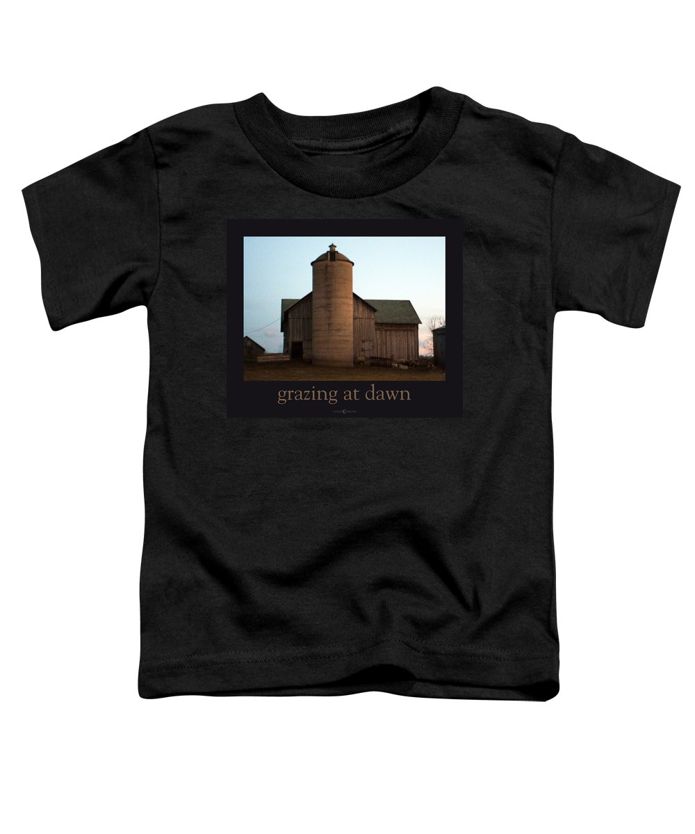 Barn Toddler T-Shirt featuring the photograph Grazing At Dawn by Tim Nyberg