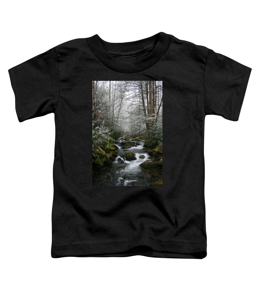Green Snow Tree Trees Winter Stream River Creek Water Stone Rock Flow Boulder Forest Woods Cold Toddler T-Shirt featuring the photograph Green And White by Andrei Shliakhau