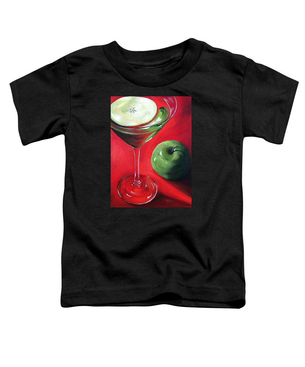 Martini Toddler T-Shirt featuring the painting Green Apple Martini by Torrie Smiley