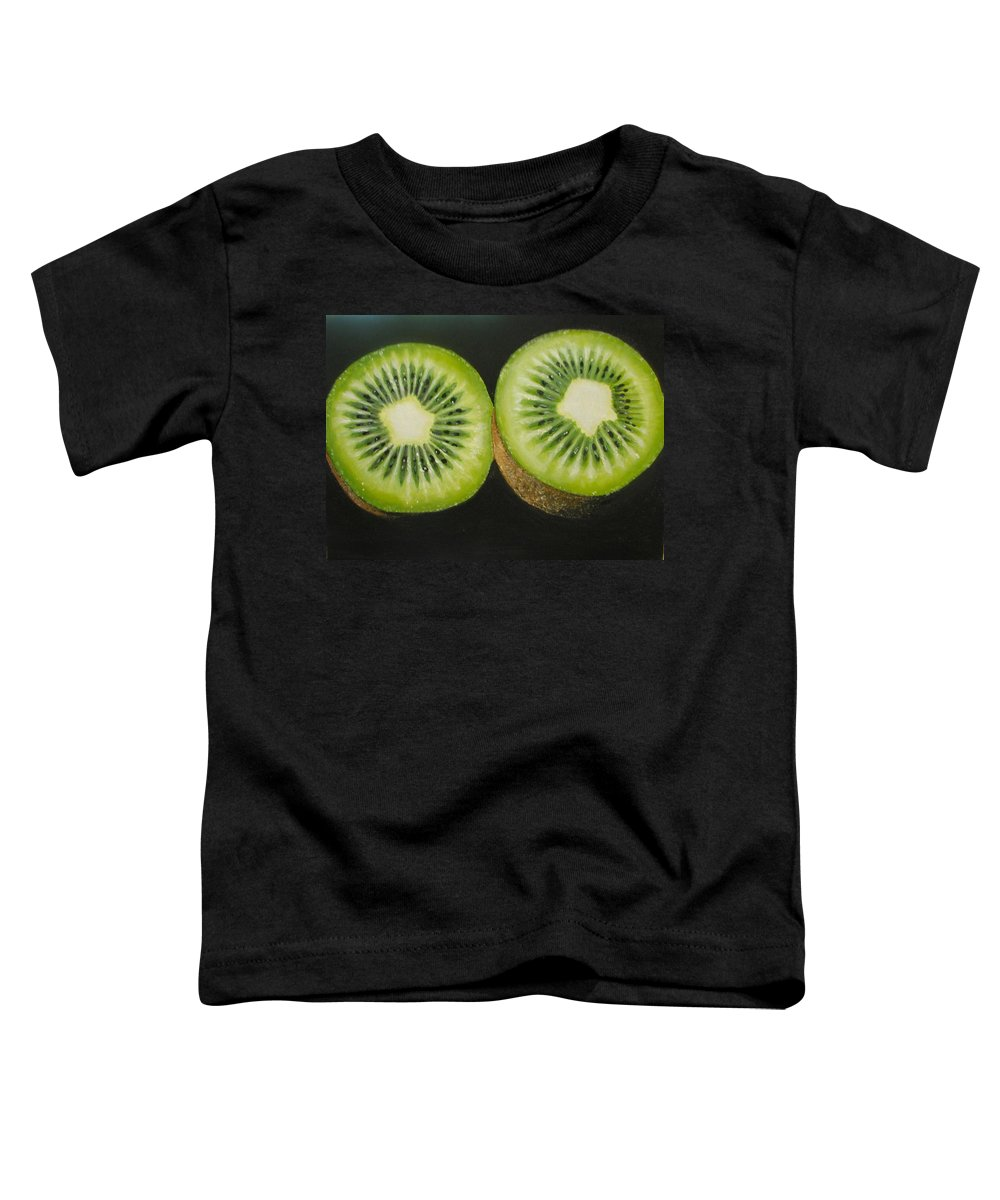 Kiwi Toddler T-Shirt featuring the painting Green Kiwi Oil Painting by Natalja Picugina