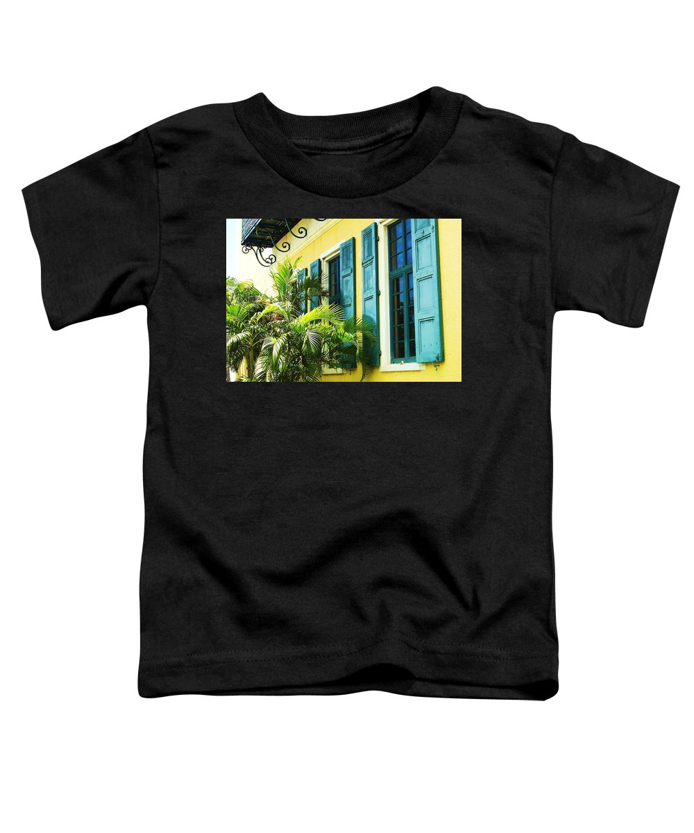 Architecture Toddler T-Shirt featuring the photograph Green Shutters by Debbi Granruth