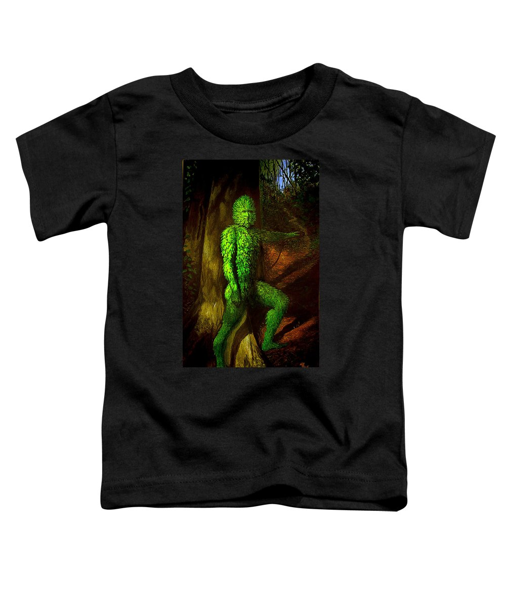 Myth Toddler T-Shirt featuring the mixed media Greenman by Will Brown