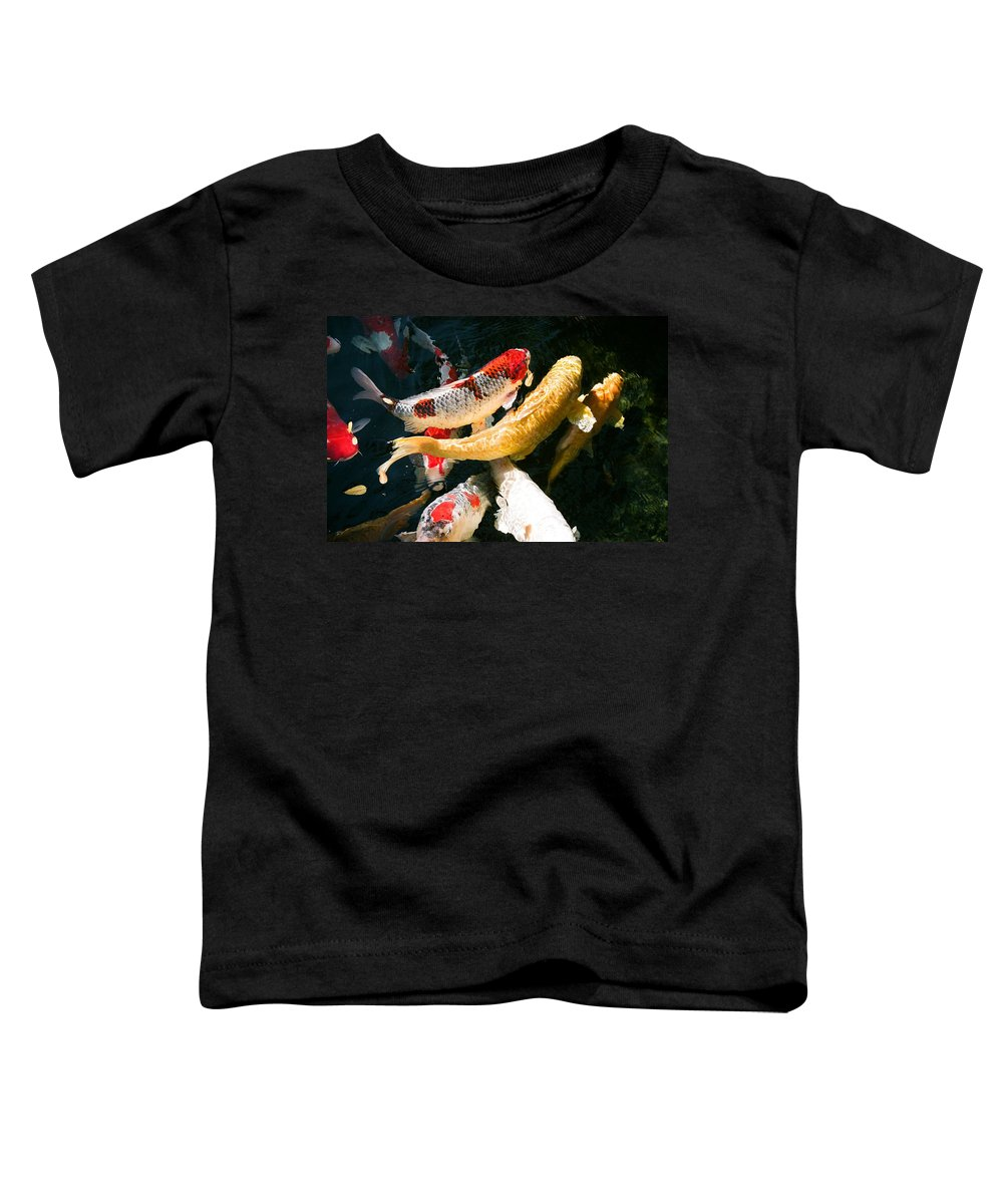 Fish Toddler T-Shirt featuring the photograph Group Of Koi Fish by Dean Triolo