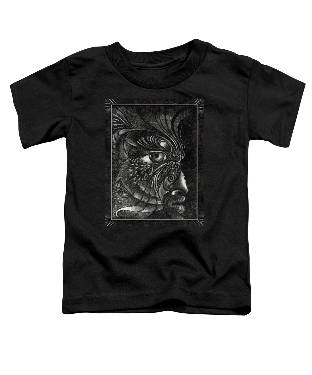 Mezzotint Toddler T-Shirt featuring the drawing Guardian Cherub by Otto Rapp
