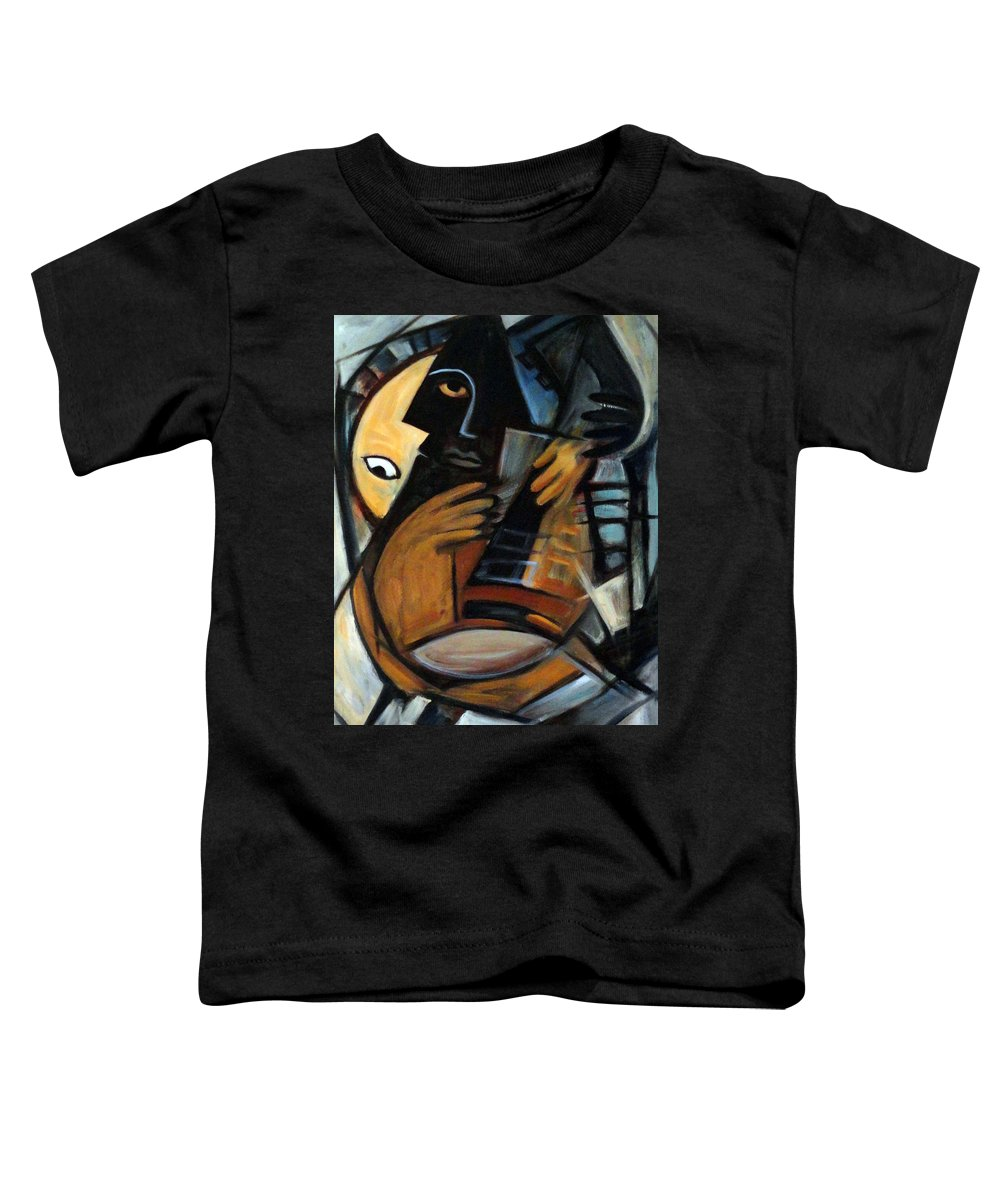 Cubism Toddler T-Shirt featuring the painting Guitarist by Valerie Vescovi