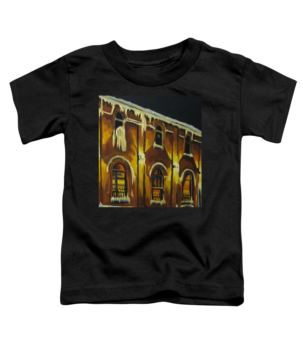 Urban Landscapes Toddler T-Shirt featuring the painting Halifax Ale House In Ice by John Malone