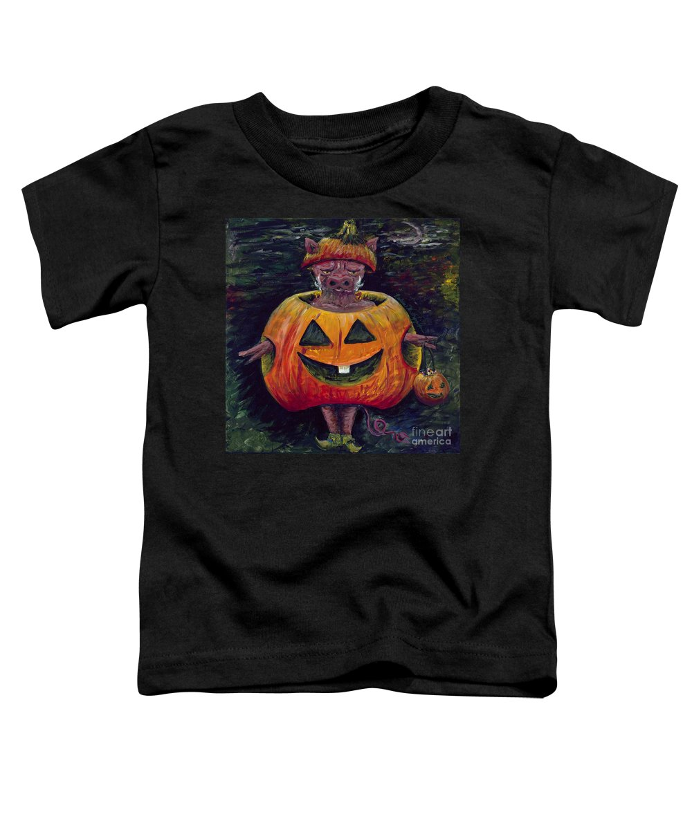 Halloween Toddler T-Shirt featuring the painting Halloween Hog by Nadine Rippelmeyer