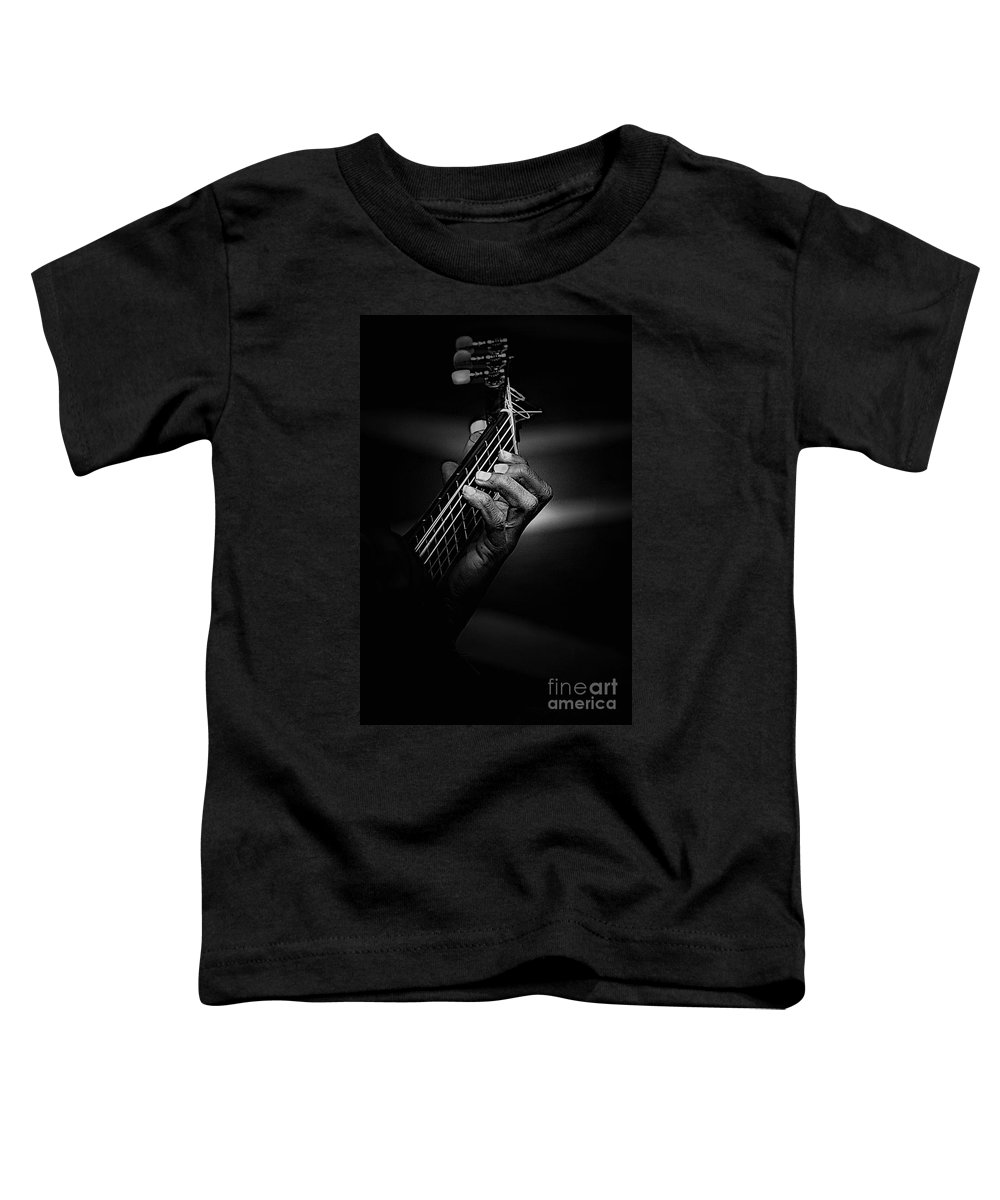 Guitar Toddler T-Shirt featuring the photograph Hand Of A Guitarist In Monochrome by Sheila Smart Fine Art Photography