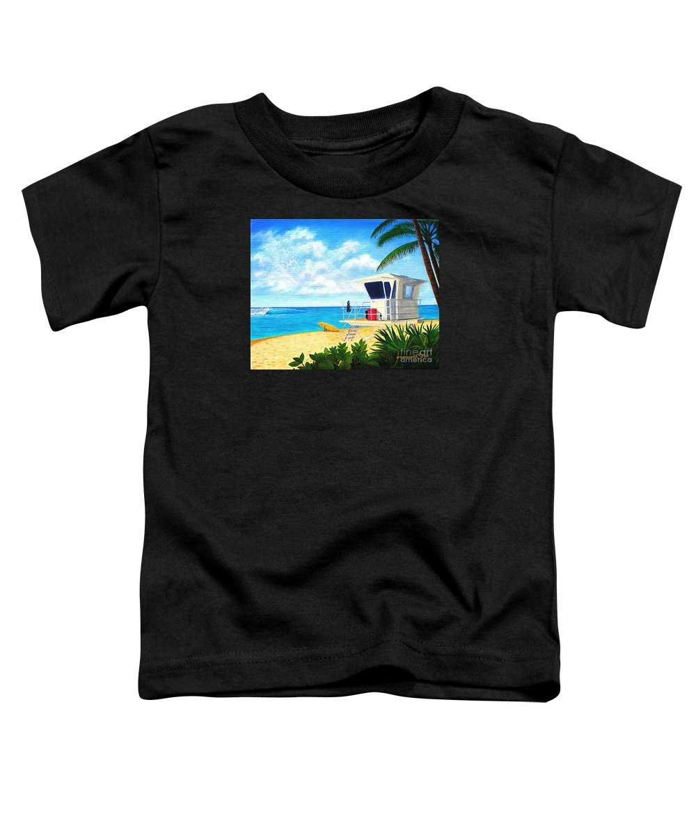 Hawaii Toddler T-Shirt featuring the painting Hawaii North Shore Banzai Pipeline by Jerome Stumphauzer