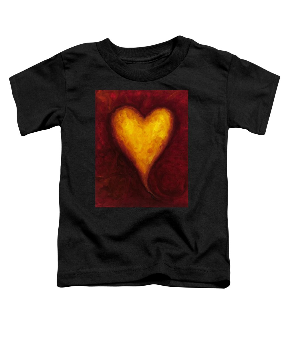 Heart Toddler T-Shirt featuring the painting Heart Of Gold 1 by Shannon Grissom