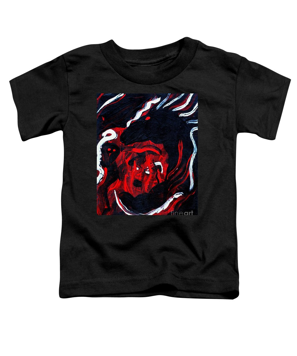 Horse Woman Red Black Silver Toddler T-Shirt featuring the painting Hell Beast by Dawn Downour