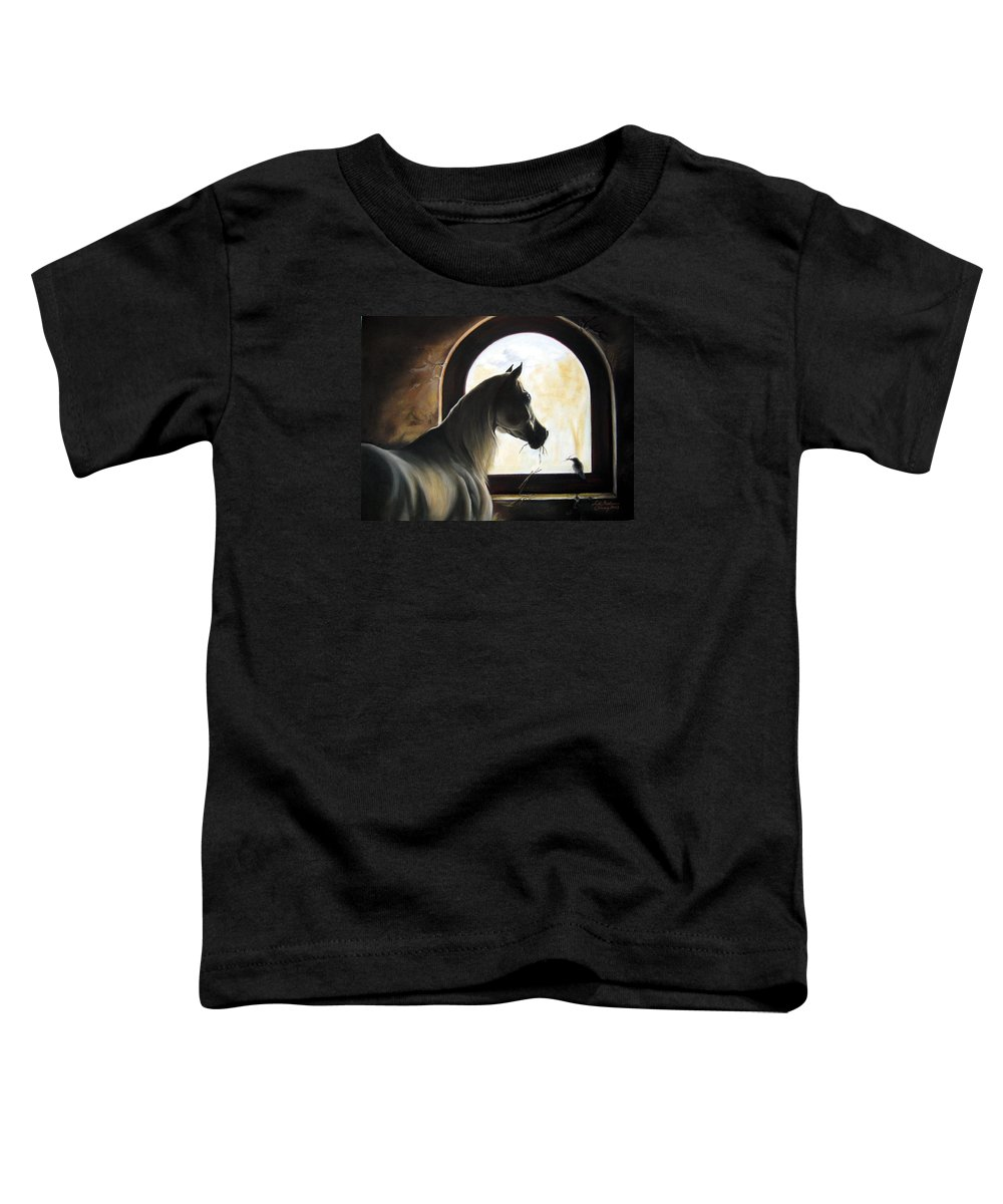Toddler T-Shirt featuring the painting Helping by Leyla Munteanu