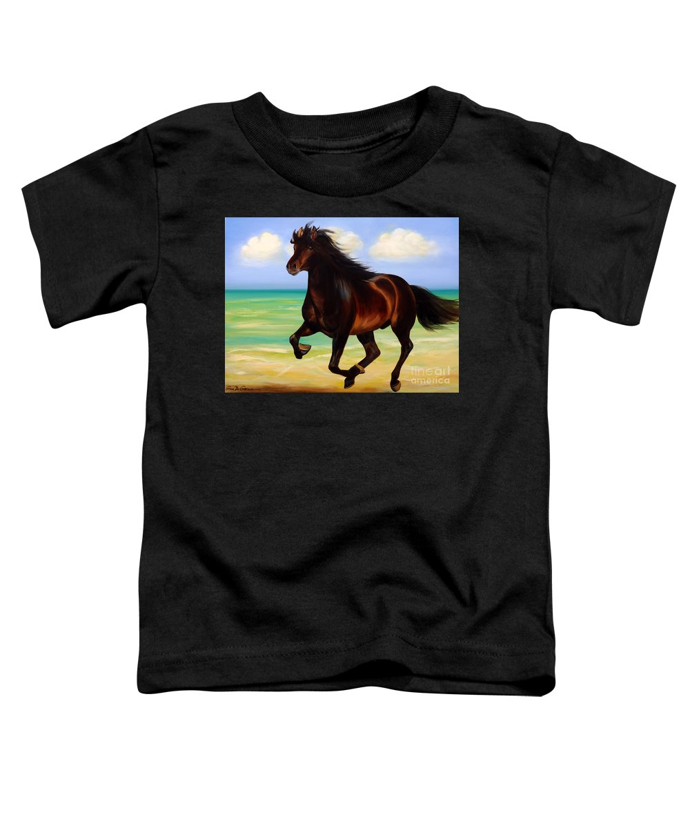 Horses Toddler T-Shirt featuring the painting Horses In Paradise Run by Gina De Gorna
