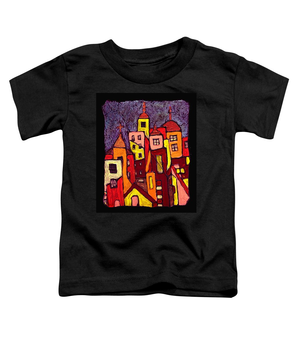 City Scapes Toddler T-Shirt featuring the painting Hot Night In The City by Wayne Potrafka