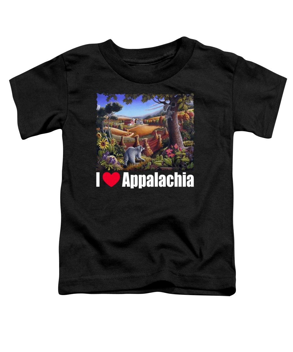 Rural Toddler T-Shirt featuring the painting I Love Appalachia T Shirt - Coon Gap Holler 2 - Country Farm Landscape by Walt Curlee