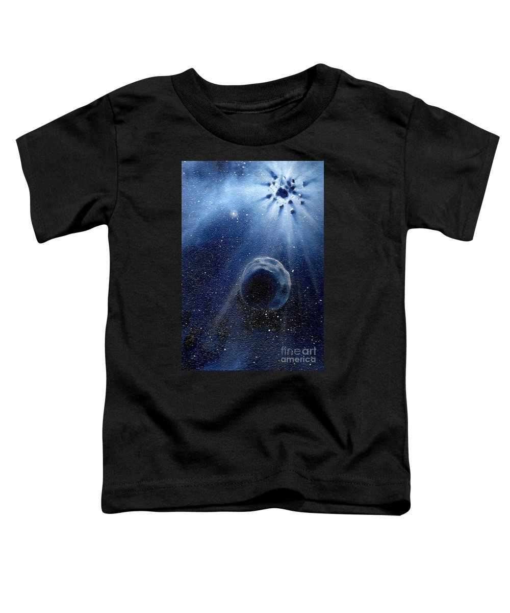 Outerspace Toddler T-Shirt featuring the painting Impressive Impact by Murphy Elliott