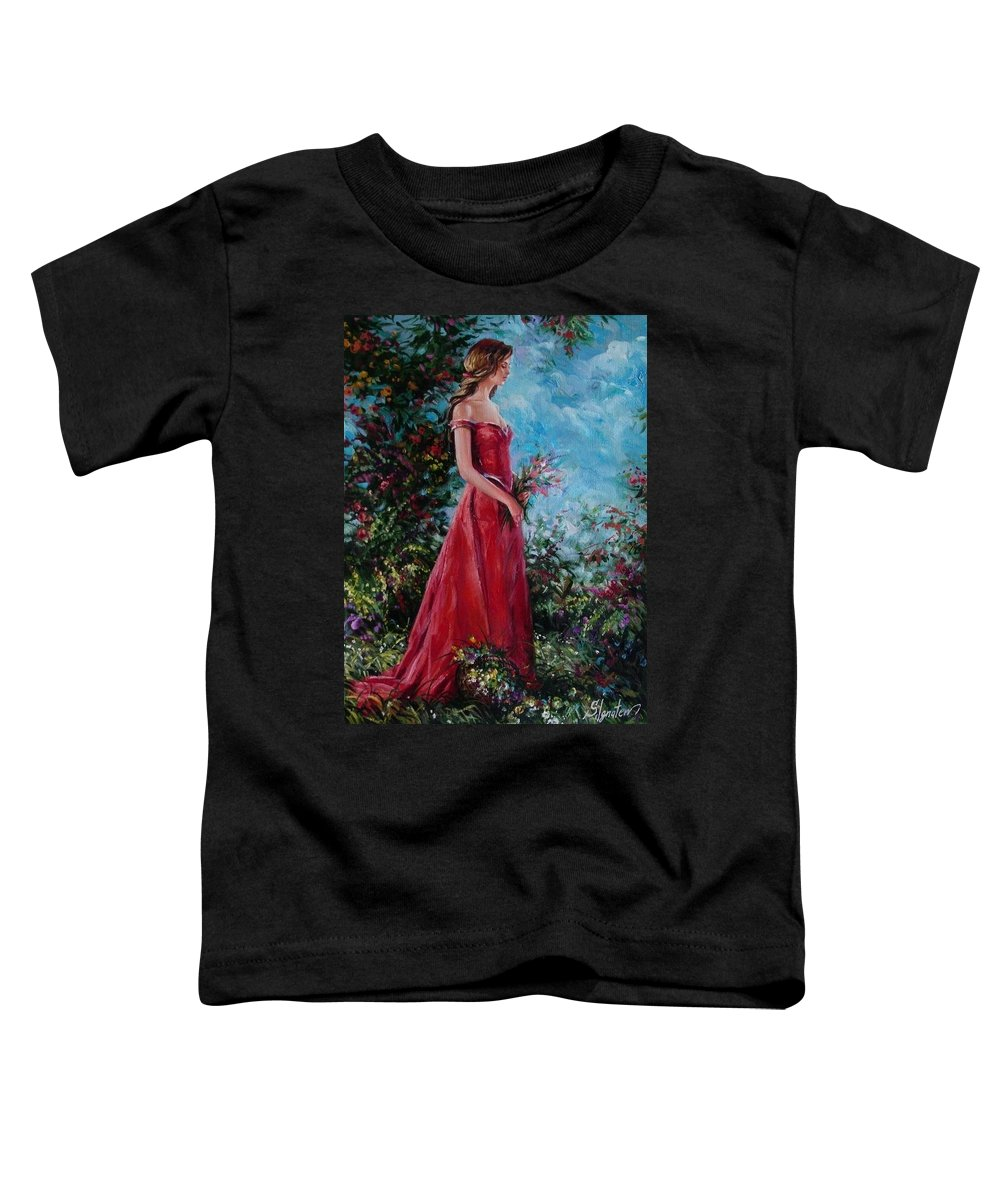 Figurative Toddler T-Shirt featuring the painting In Summer Garden by Sergey Ignatenko