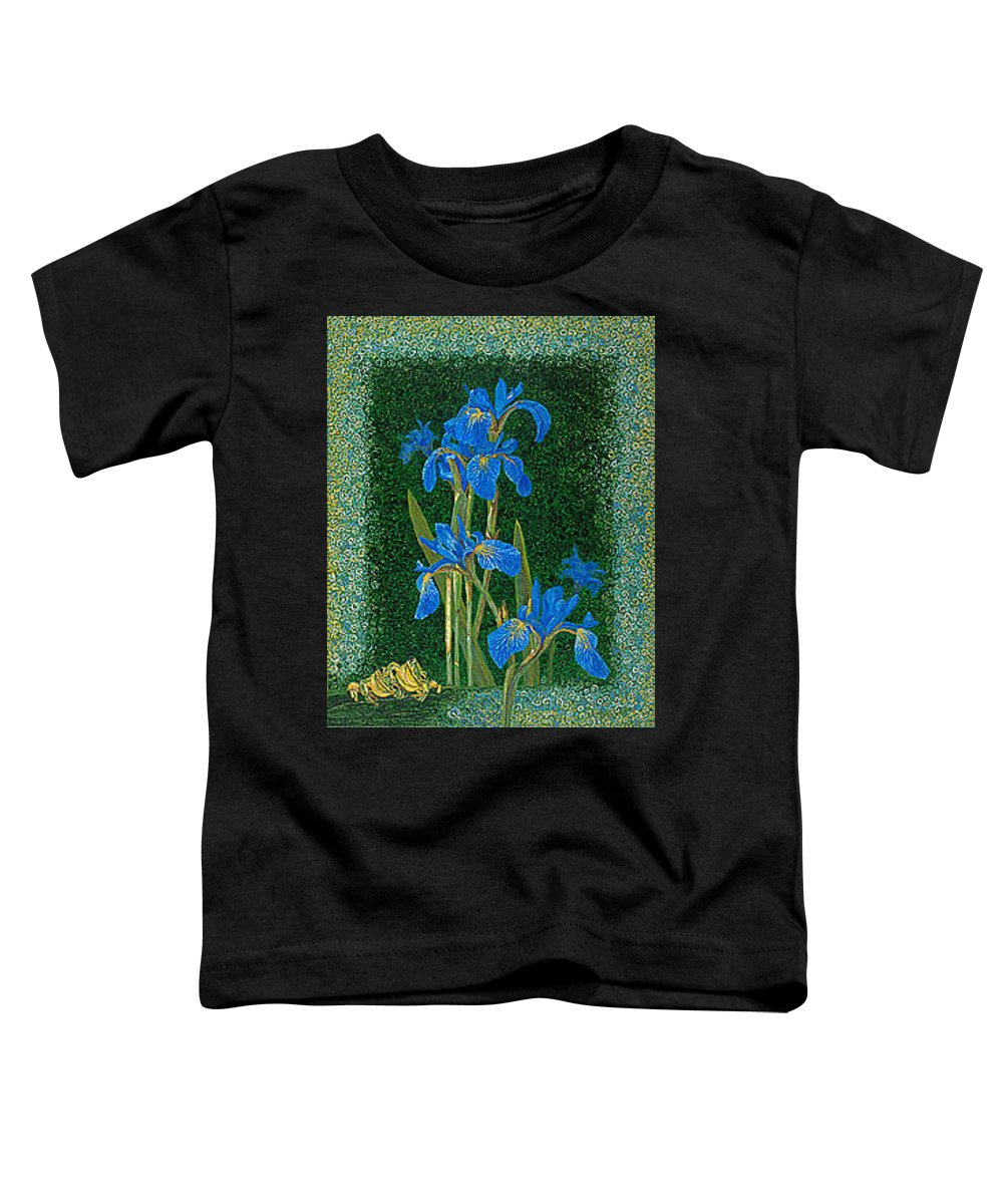 Irises Toddler T-Shirt featuring the painting Irises Blue Flowers Lucky Love Frog Friends Fine Art Print Giclee High Quality Exceptional Colors by Baslee Troutman