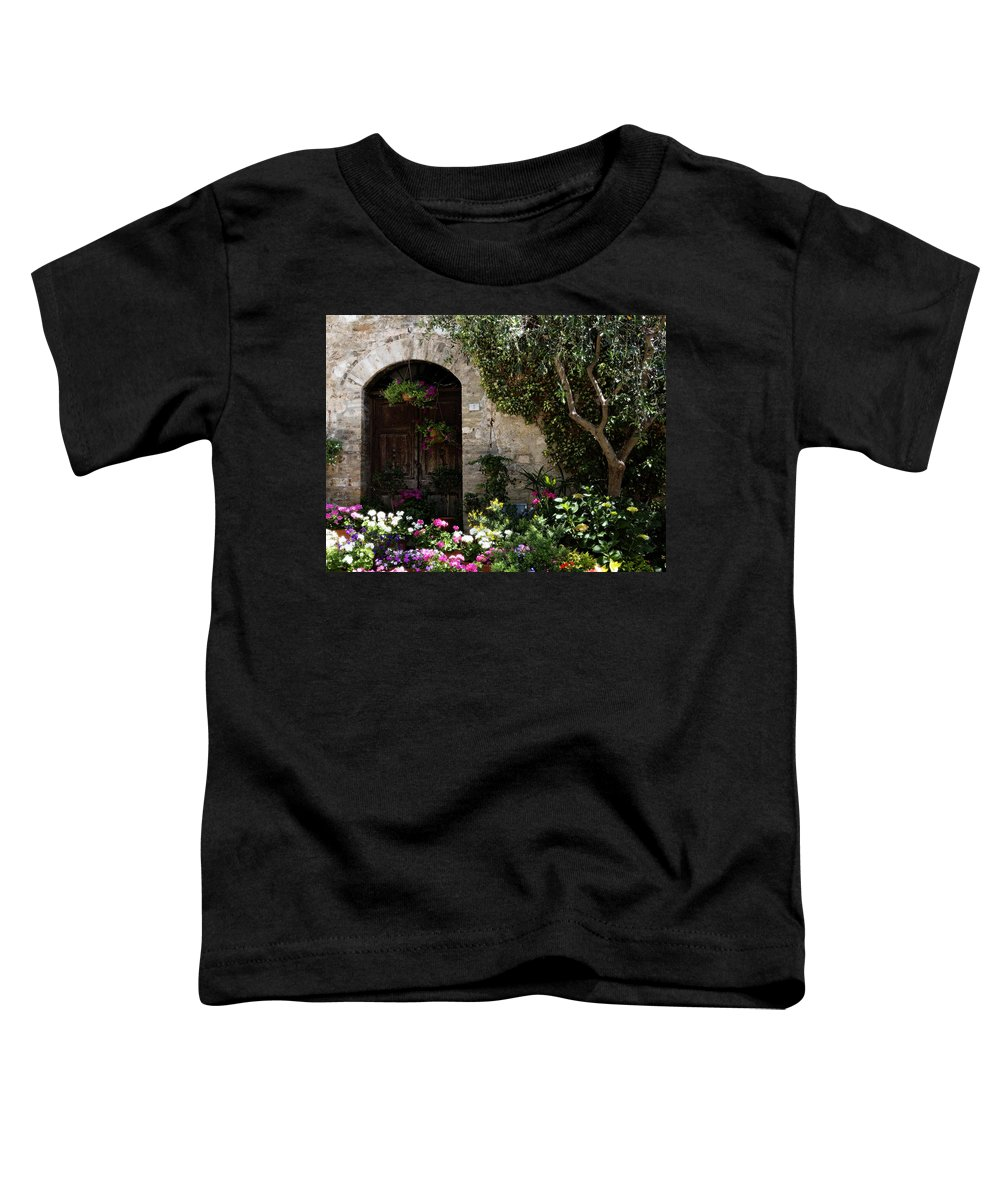 Flower Toddler T-Shirt featuring the photograph Italian Front Door Adorned With Flowers by Marilyn Hunt