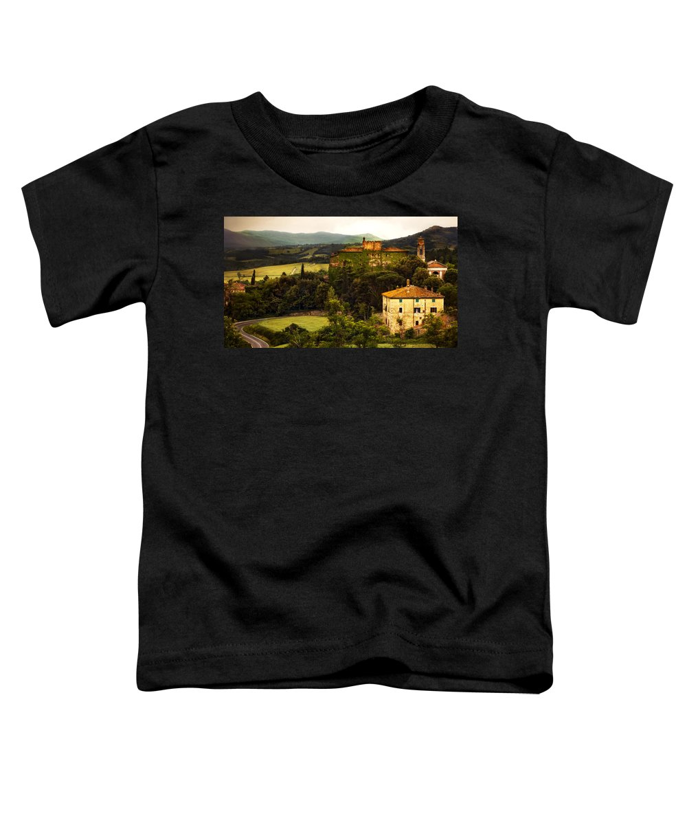 Italy Toddler T-Shirt featuring the photograph Italian Castle And Landscape by Marilyn Hunt
