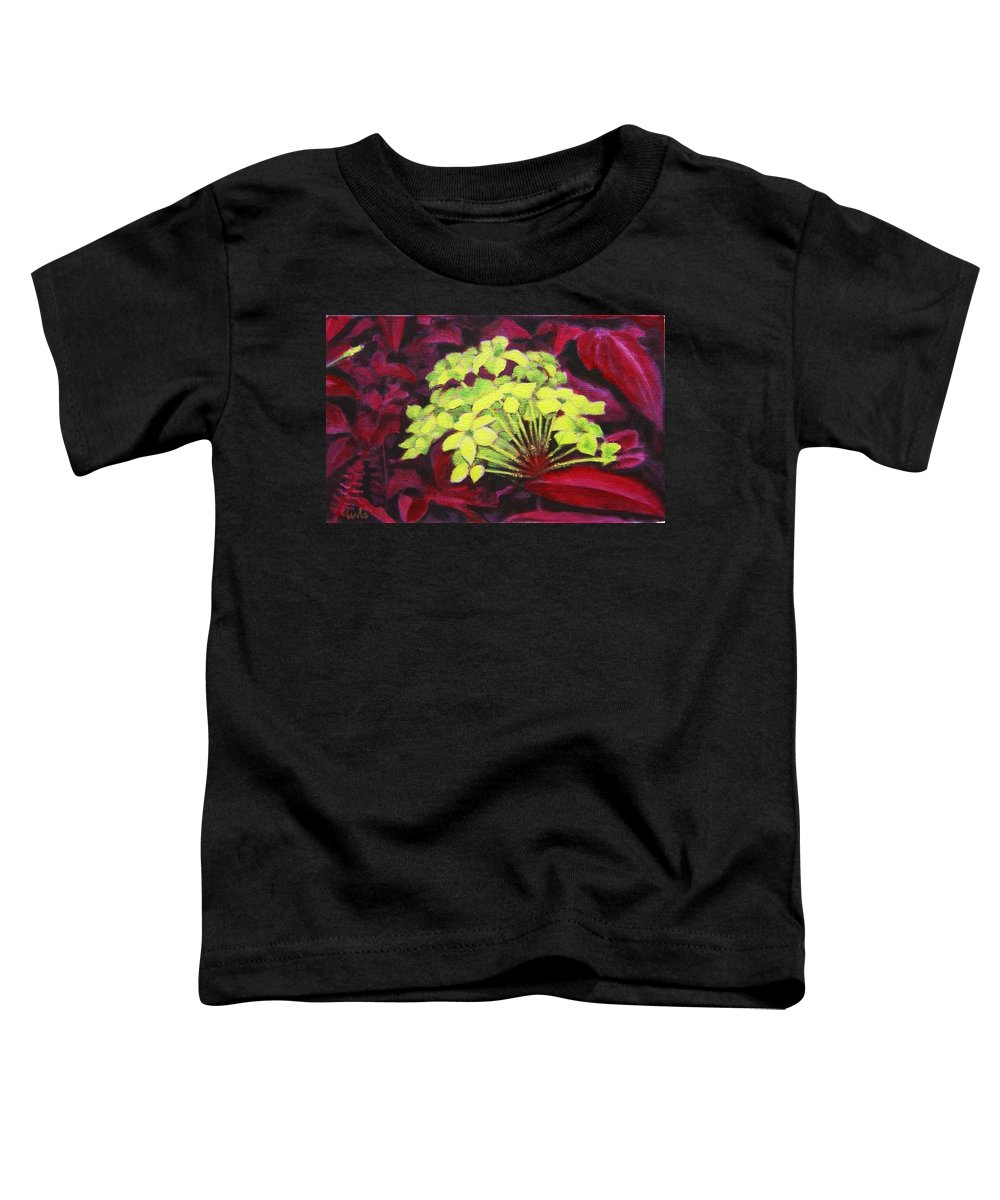Foliage Toddler T-Shirt featuring the painting Ixora - Jungle Flame by Usha Shantharam