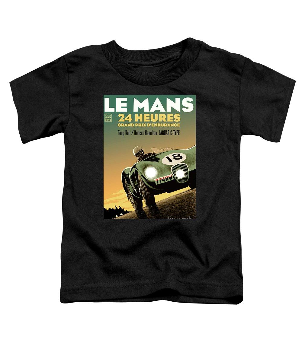 Jaguar C Type Toddler T-Shirt featuring the mixed media Jaguar C Type, Le Mans, 24 hours by Thomas Pollart