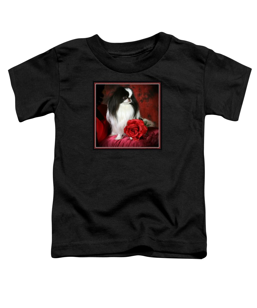 Japanese Chin Toddler T-Shirt featuring the pyrography Japanese Chin and Rose by Kathleen Sepulveda