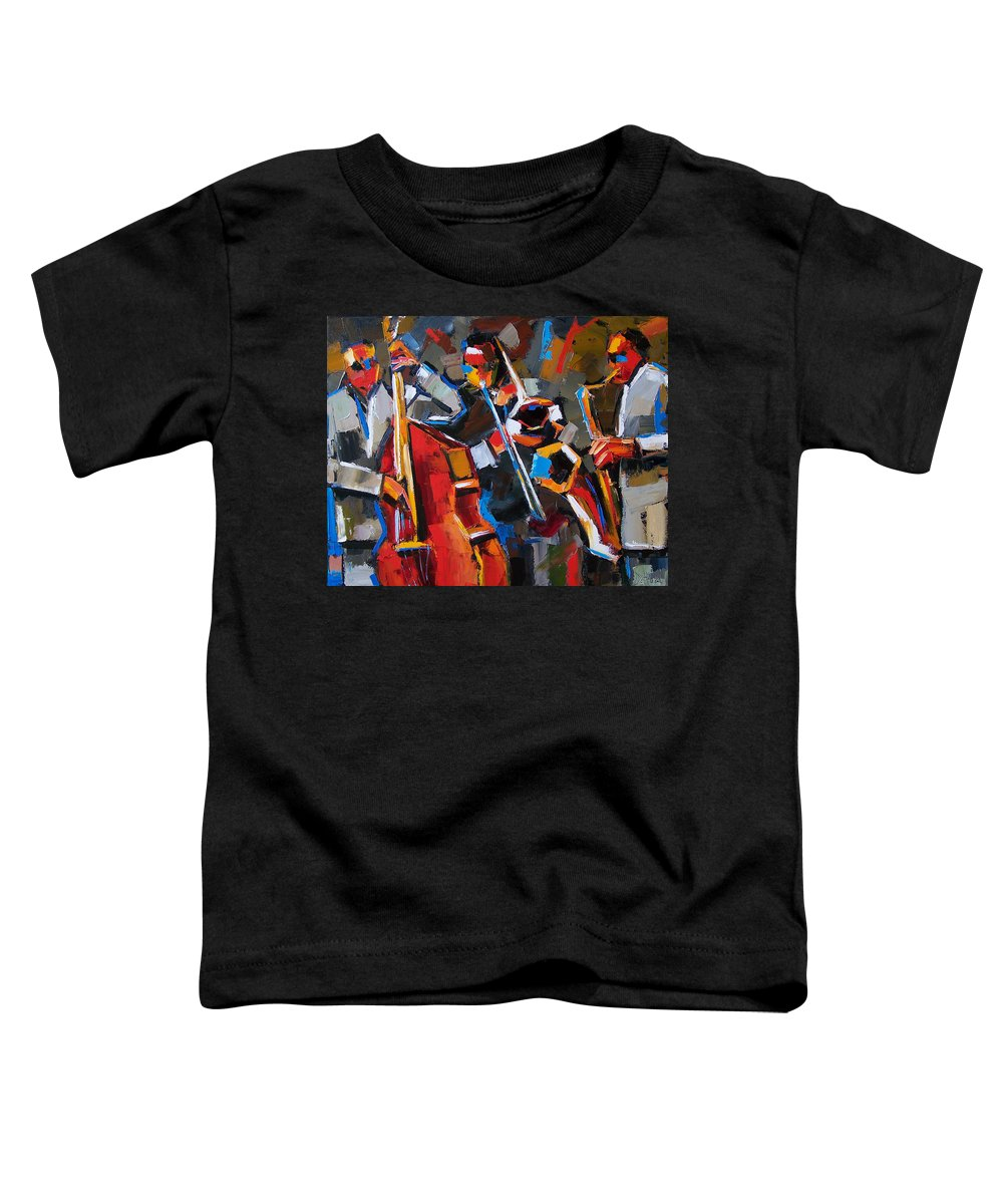 Jazz Toddler T-Shirt featuring the painting Jazz Angles by Debra Hurd