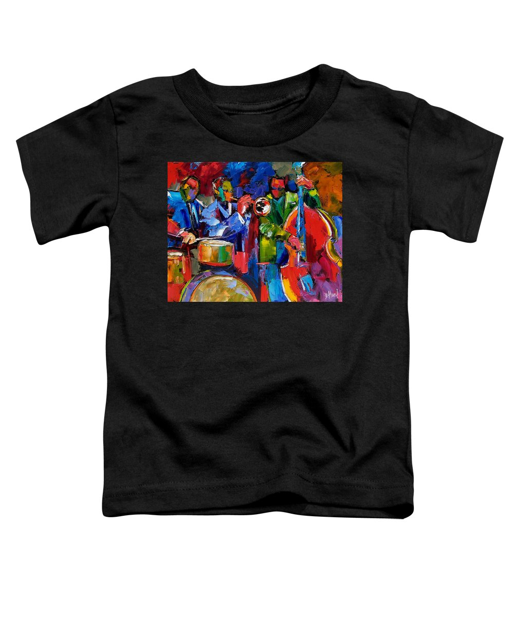 Jazz Toddler T-Shirt featuring the painting Jazz Beat by Debra Hurd