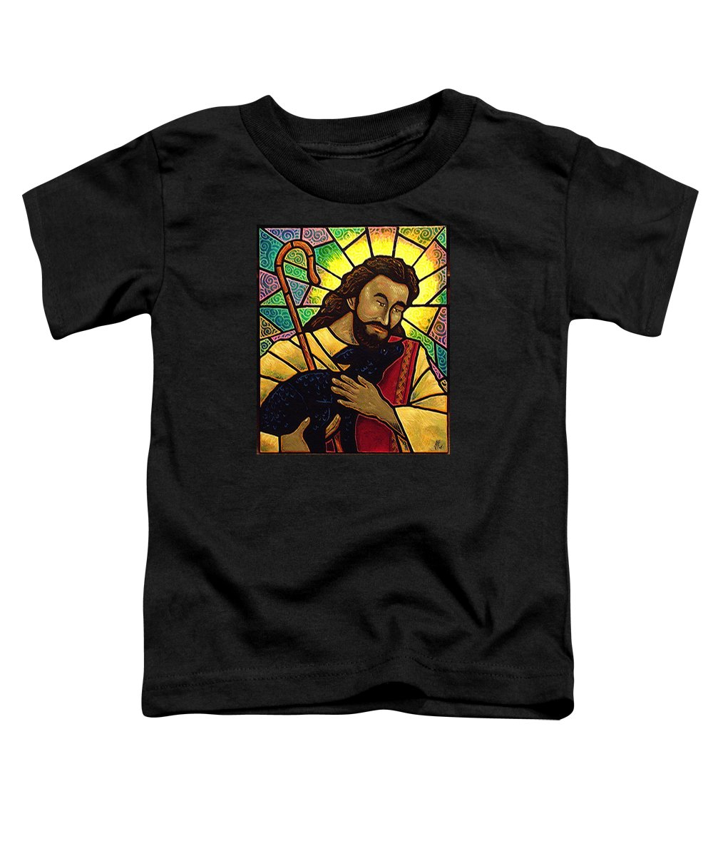 Jesus Toddler T-Shirt featuring the painting Jesus The Good Shepherd by Jim Harris