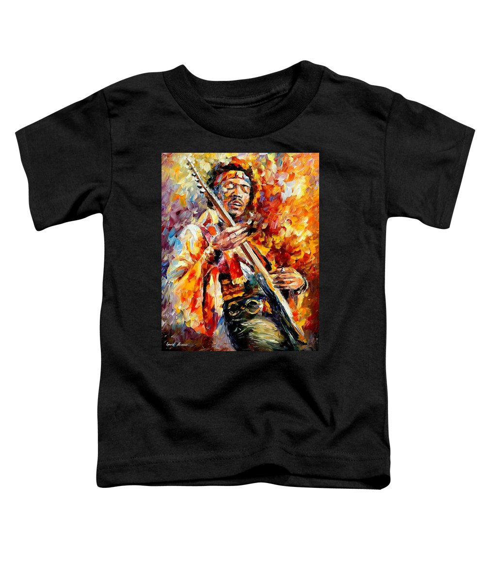 Music Toddler T-Shirt featuring the painting Jimi Hendrix by Leonid Afremov