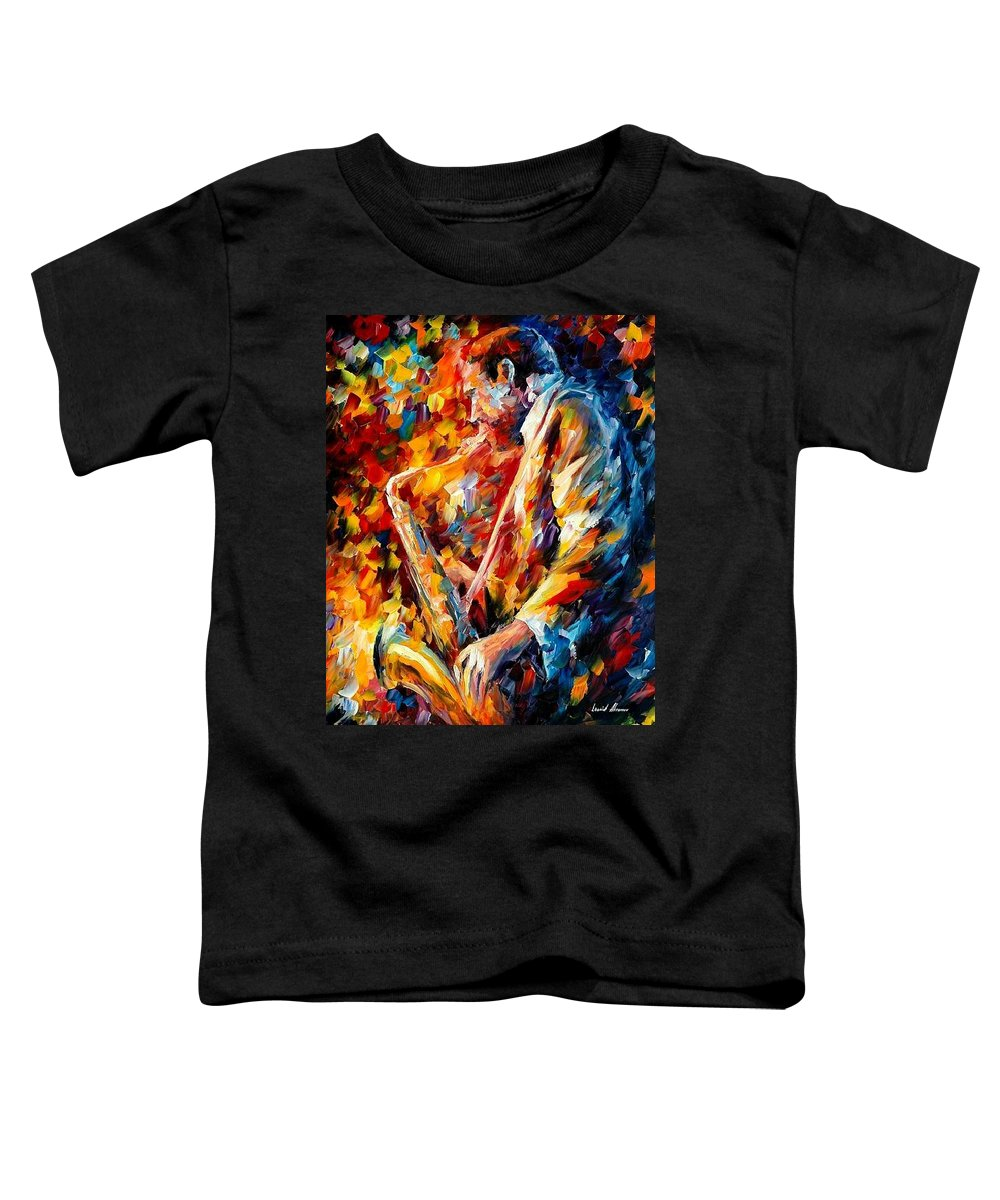 Music Toddler T-Shirt featuring the painting John Coltrane by Leonid Afremov