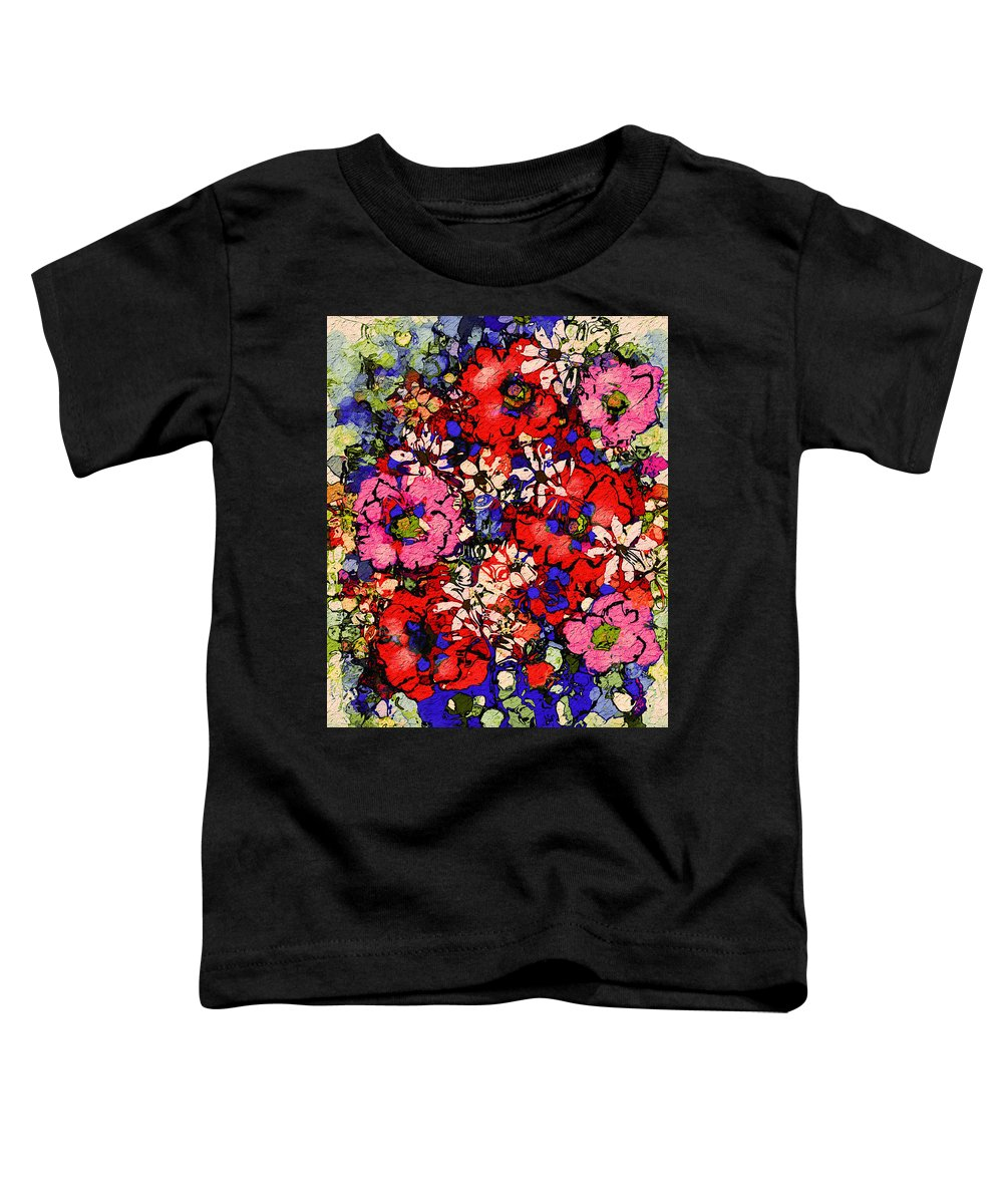 Floral Abstract Toddler T-Shirt featuring the painting Joyful Flowers by Natalie Holland