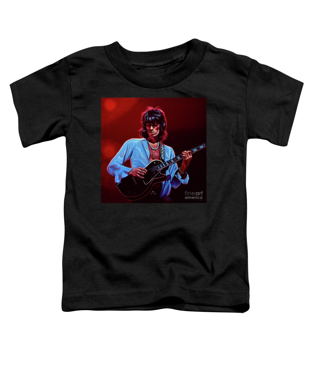 Keith Richards Toddler T-Shirt featuring the painting Keith Richards The Riffmaster by Paul Meijering
