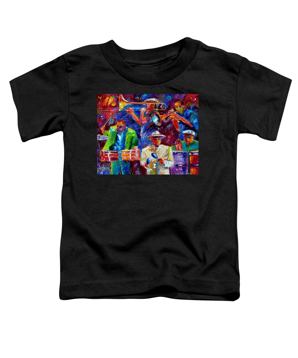 Jazz Toddler T-Shirt featuring the painting Latin Jazz by Debra Hurd