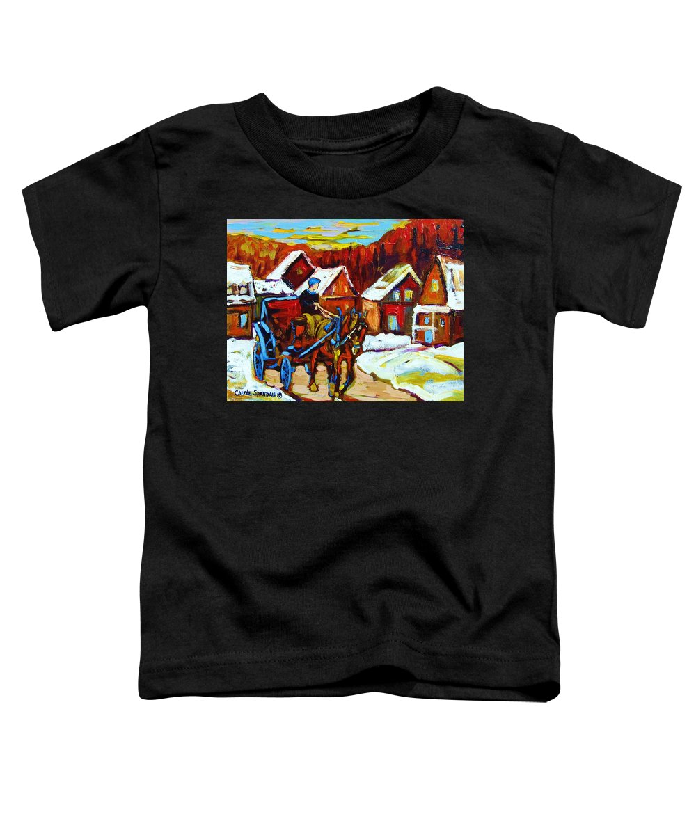 Horse And Carriage Toddler T-Shirt featuring the painting Laurentian Village Ride by Carole Spandau