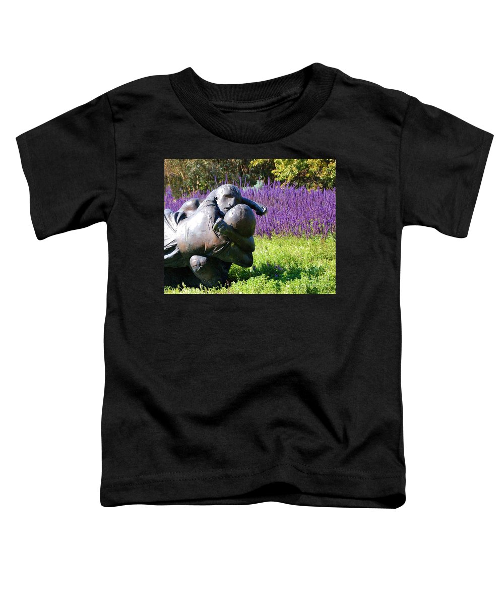 Statue Toddler T-Shirt featuring the photograph Lavender Lovers by Debbi Granruth