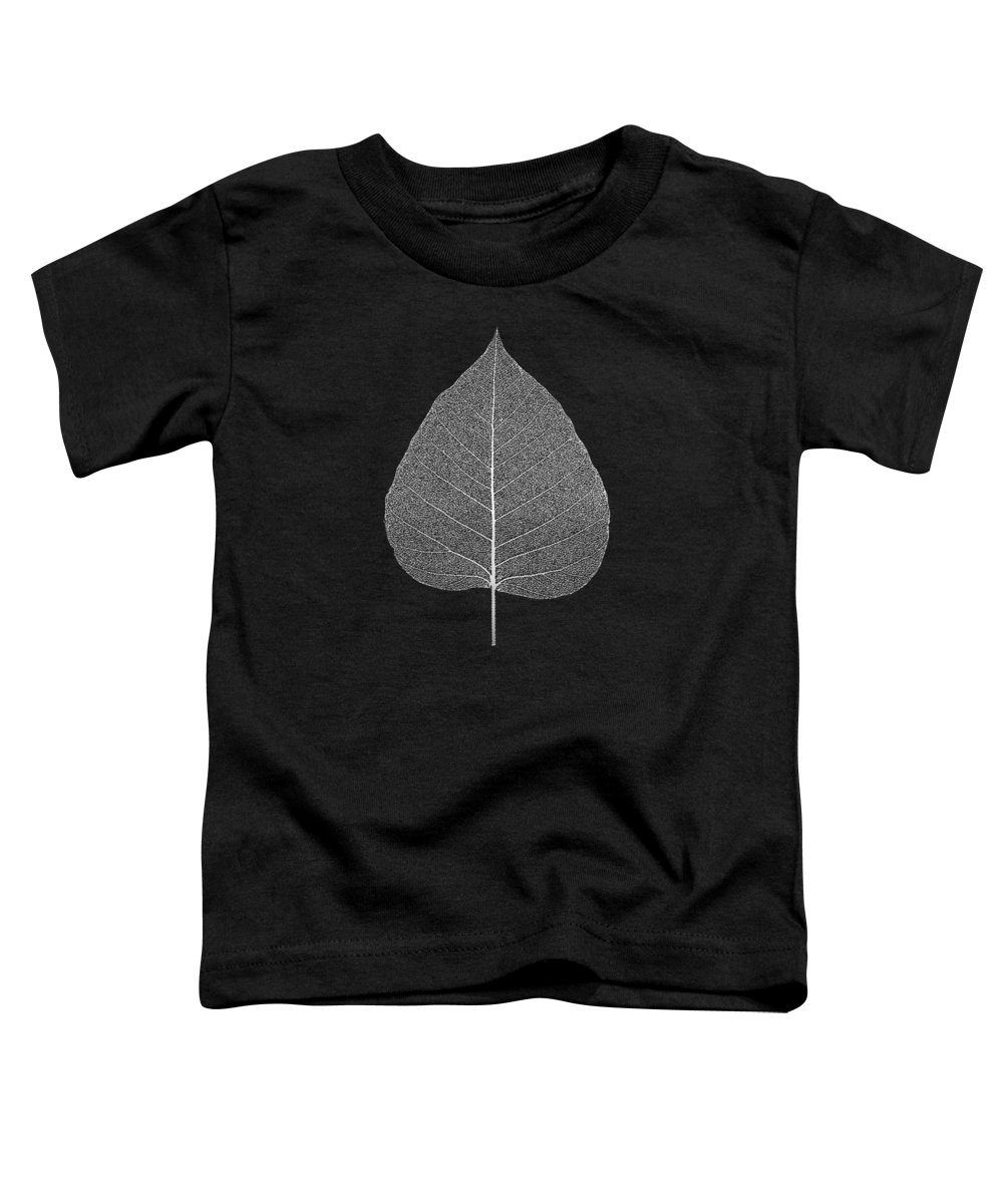 'inconsequential Beauty' Collection By Serge Averbukh Toddler T-Shirt featuring the digital art Leaf Veins Skeleton - Leaf Structure In Silver On Black by Serge Averbukh