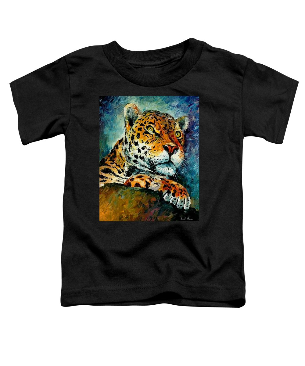 Animals Toddler T-Shirt featuring the painting Leopard by Leonid Afremov