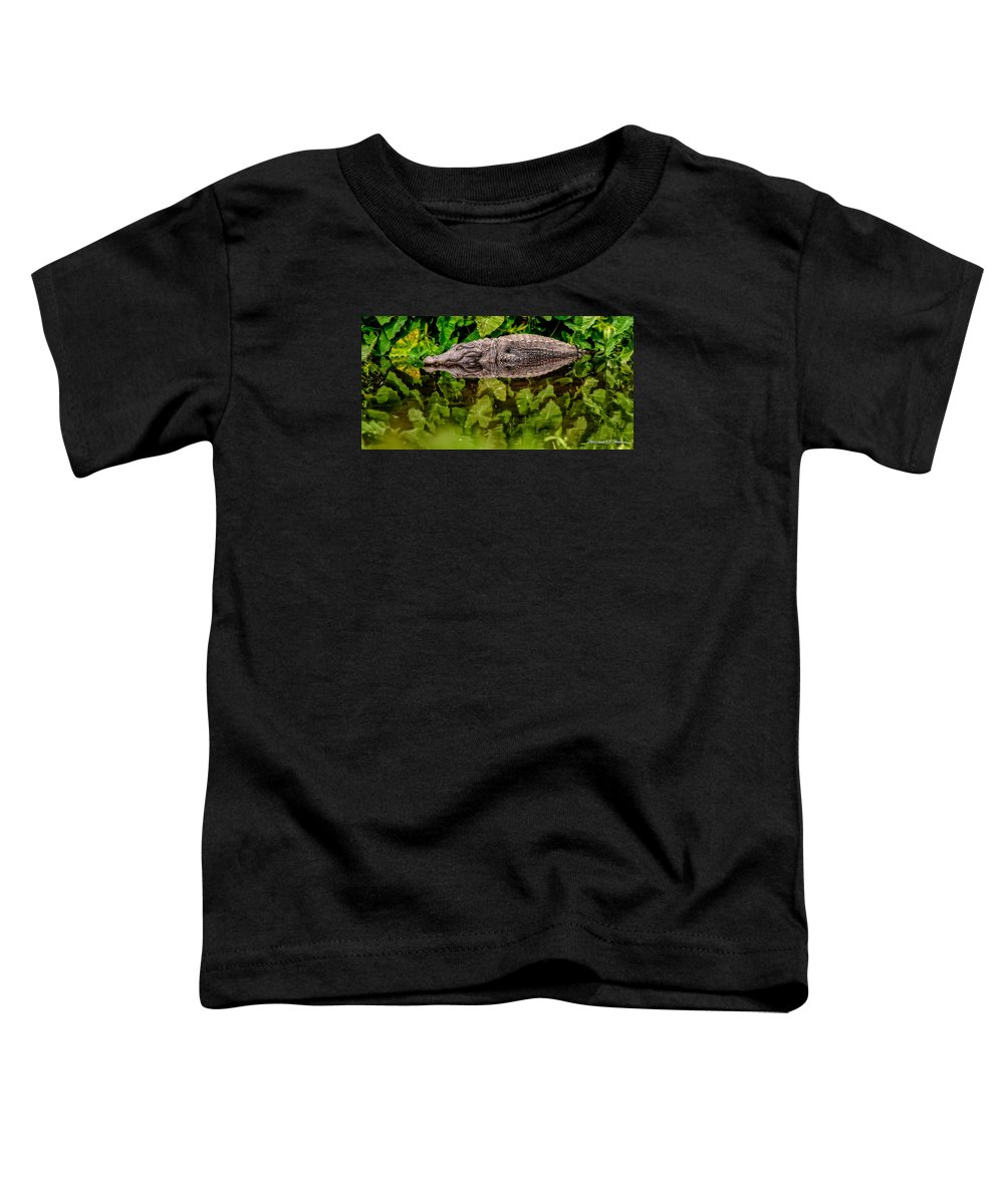 Alligator Toddler T-Shirt featuring the photograph Let Sleeping Gators Lie by Christopher Holmes
